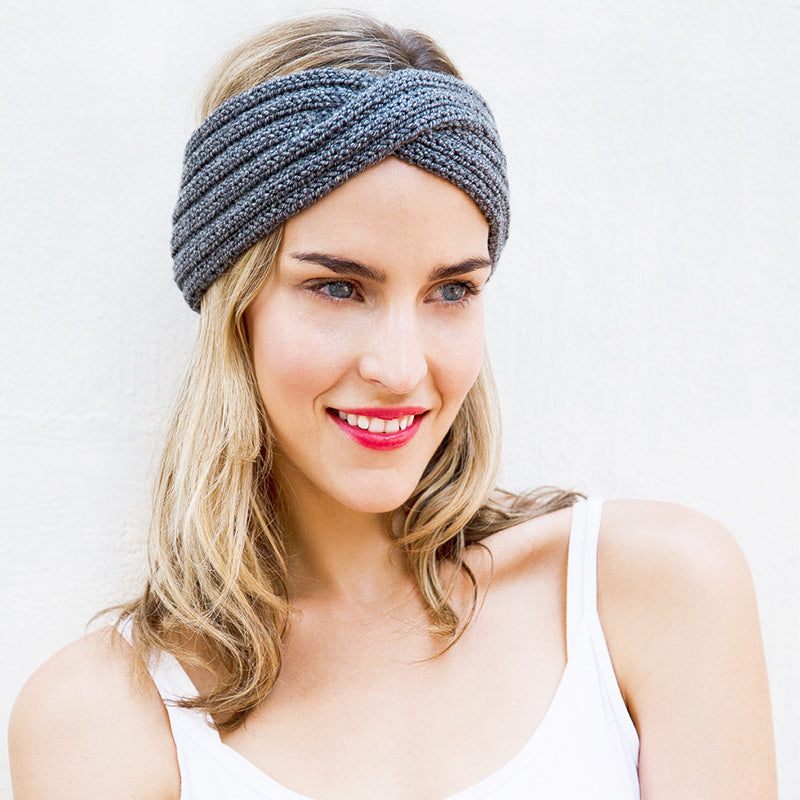 Warm Wool Winter Knit Headband Grey
