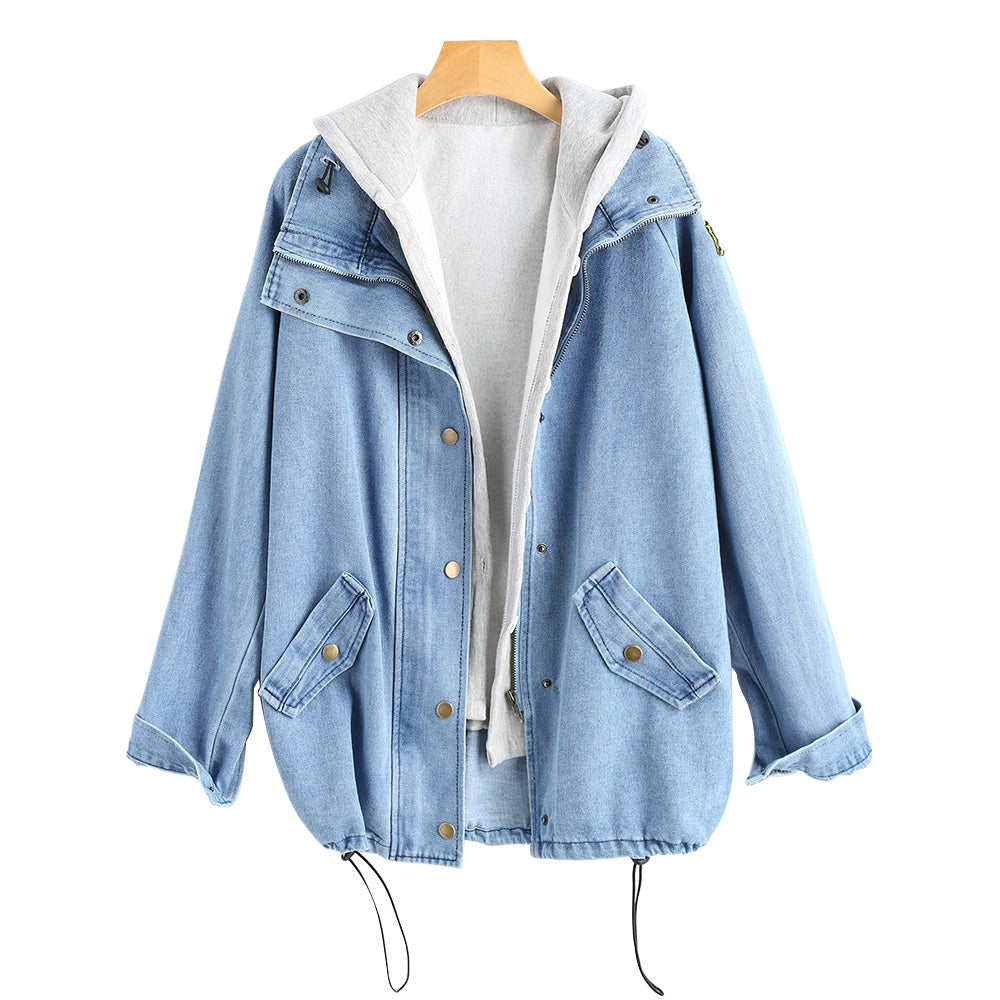 Button Up Denim Jacket with Hooded Vest Light Blue
