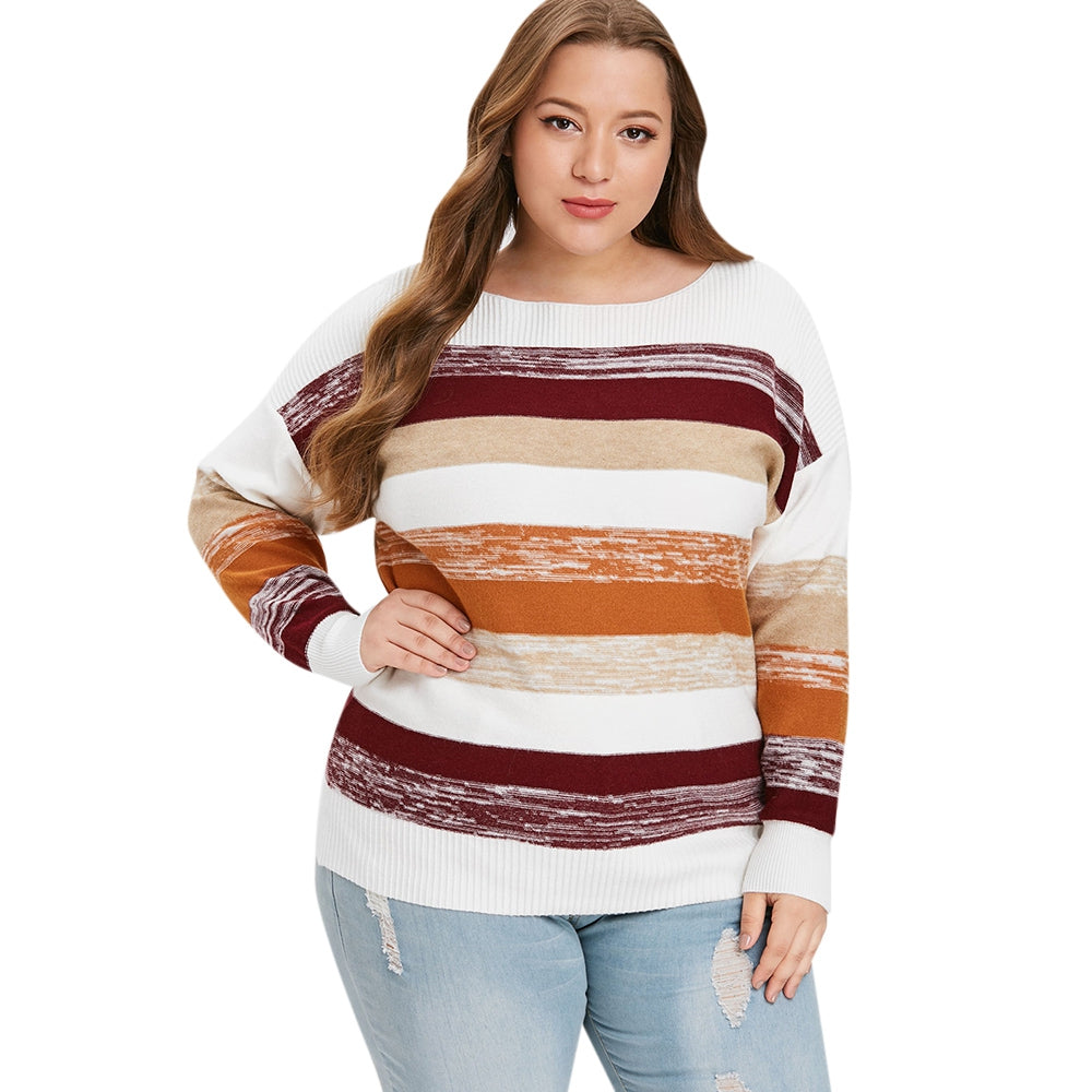 Plus Size Cozy Color Block Sweater