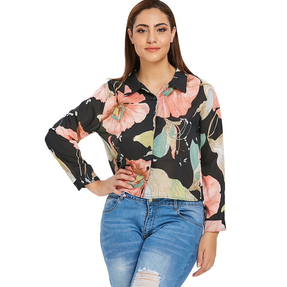Plus Size Semi Sheer Fall Floral Blouse