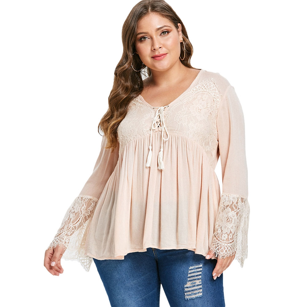 Plus Size Beautiful Boho Lace Blouse