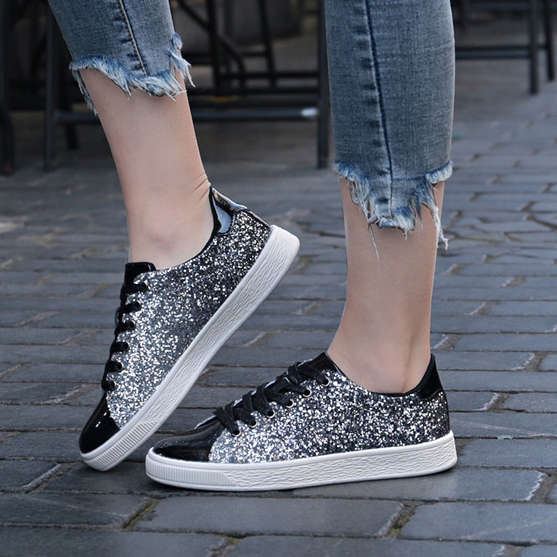 Glitter Front Lace Sneakers Gold