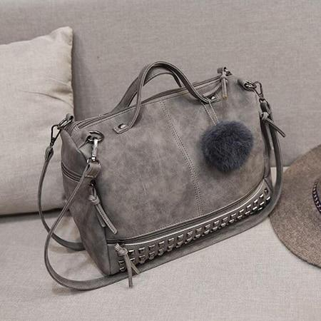 Versatile Leather Shoulder Bag Grey