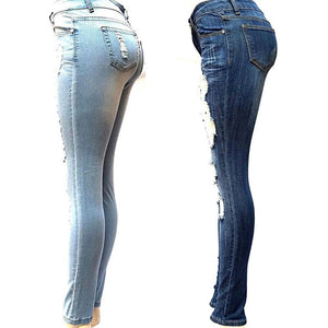 Ripped Distressed Baggar Boyfriend Jeans Light Blue