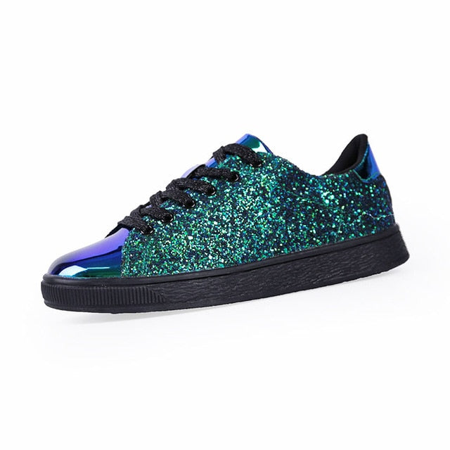 Glitter Front Lace Sneakers Green