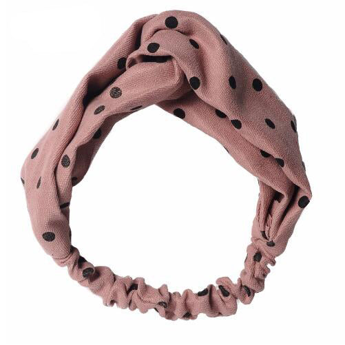 Polka Dot Scrunchie Twist Headband pink