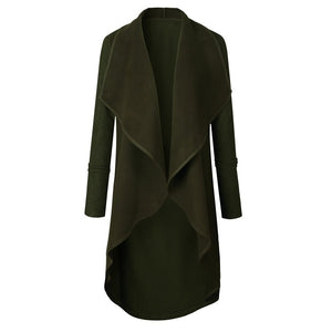 Open Ruffle Long Waterfall Cardigan Army Green