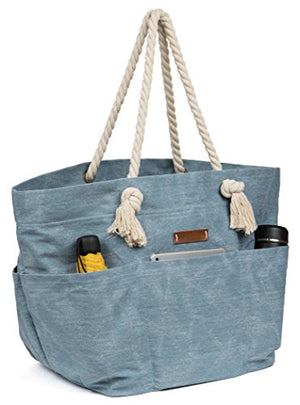 Canvas Beach Bag With 6 Pockets Blue