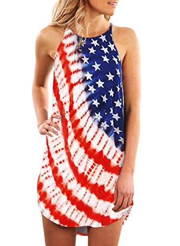 Sleeveless American Flag Beach Cover Up