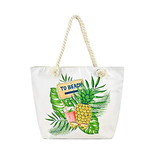 Tropical Canvas Beach Tote