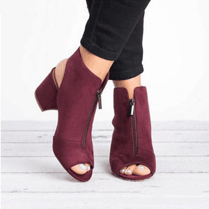 Faux Suede Peep Toe Ankle Boots Wine Red