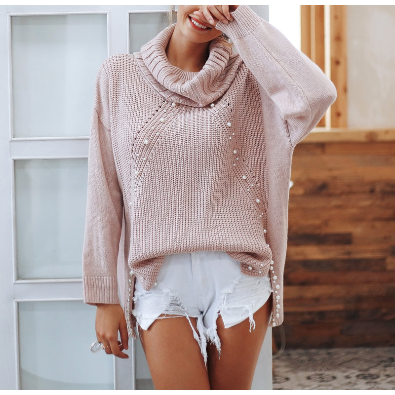 Pearl Studded Oversized High Low Cowl Neck Sweater