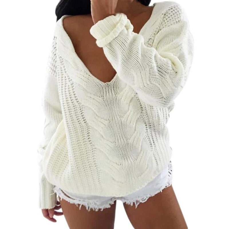 Deep V-Neck Cable Knit Sweater