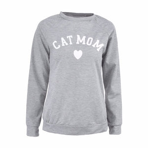 Cat Mom Sweatshirt for Cat Lovers Grey