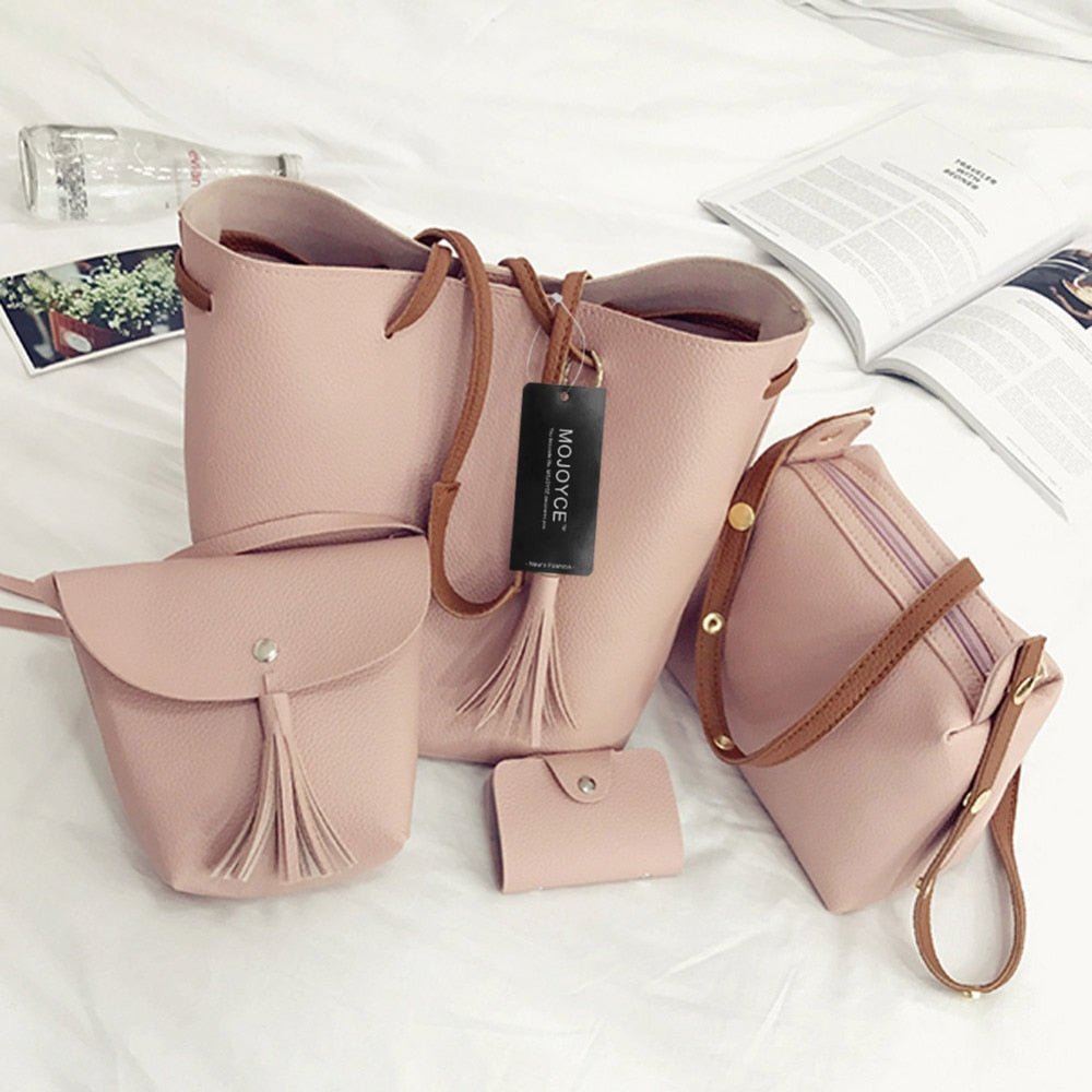 4 Piece Faux Leather Tassel Handbag Set Pink