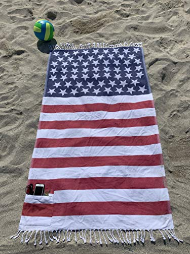 Turkish Beach Towel with Zipped Pocket