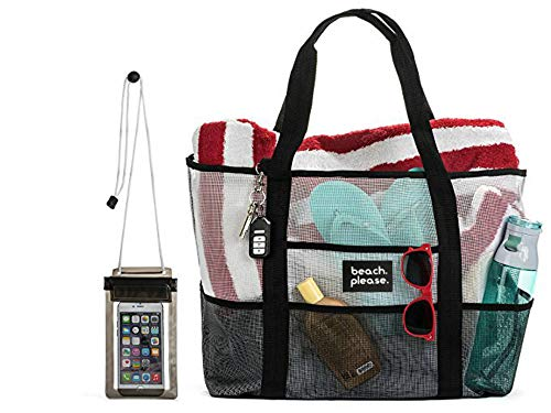 Mesh Beach Bag with Waterproof Phone Pouch