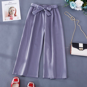 Women's Casual Striped Drawstring Bow Knot Urban Trousers Grey