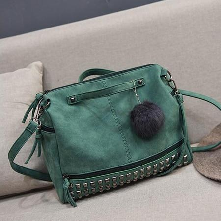 Versatile Leather Shoulder Bag Green
