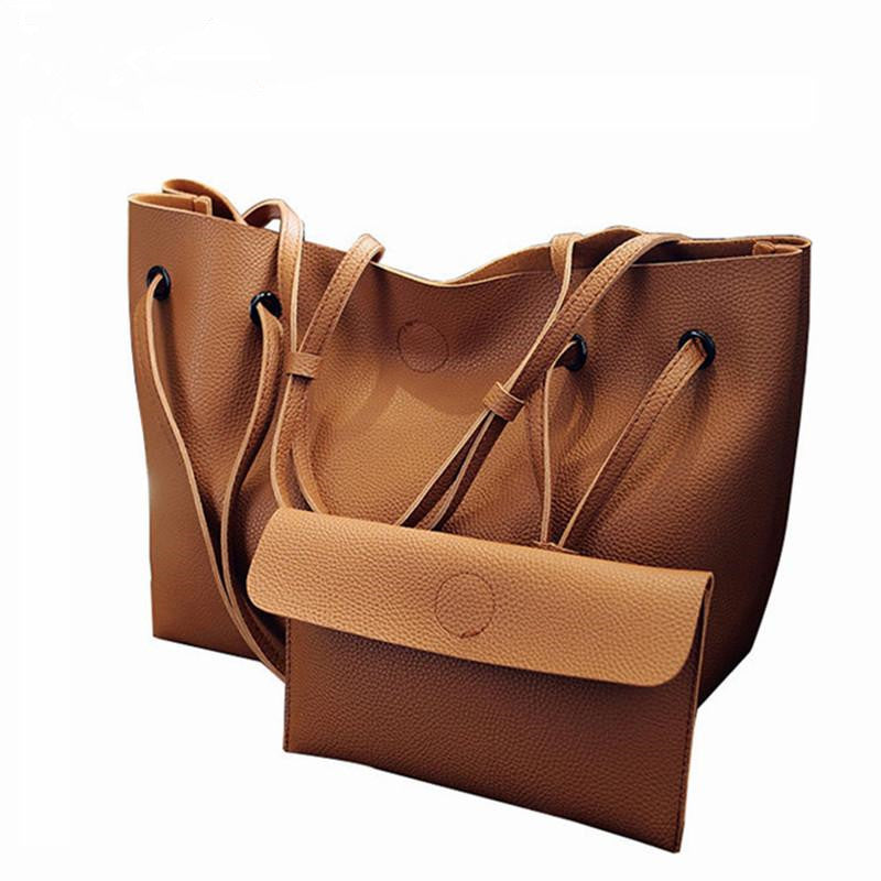 Soft Leather Tote Bag + Clutch Set Brown
