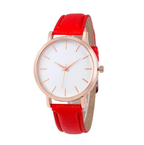 Classic Leather Quartz Watch Red