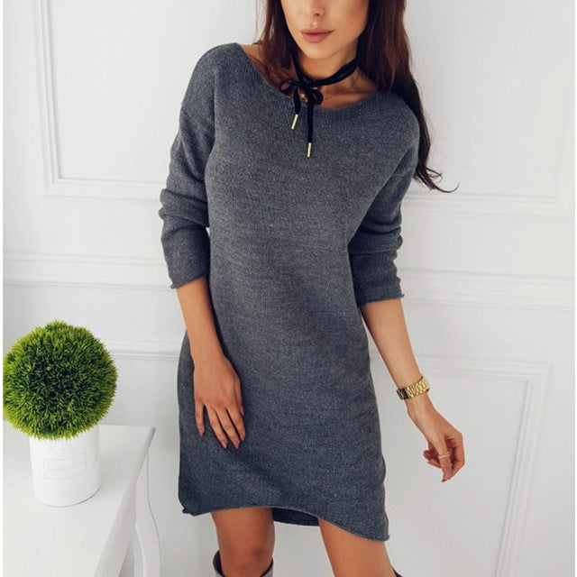 High-Low Fashion Sweater Dress Dark Grey