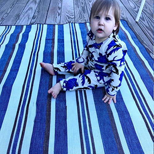 Blue and White Striped Beach Blanket