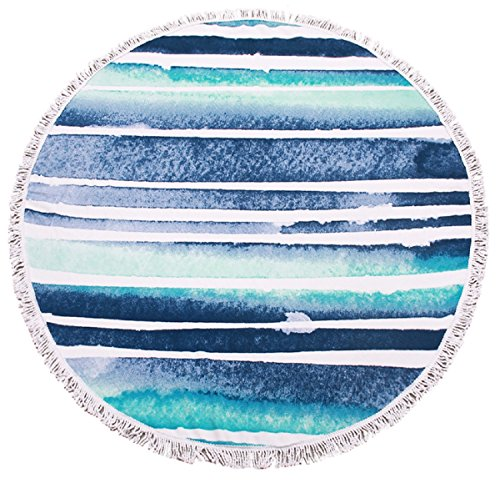 Round Blue Tassel Beach Towel