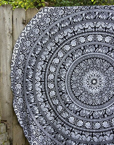 Black & White Round Beach Towel