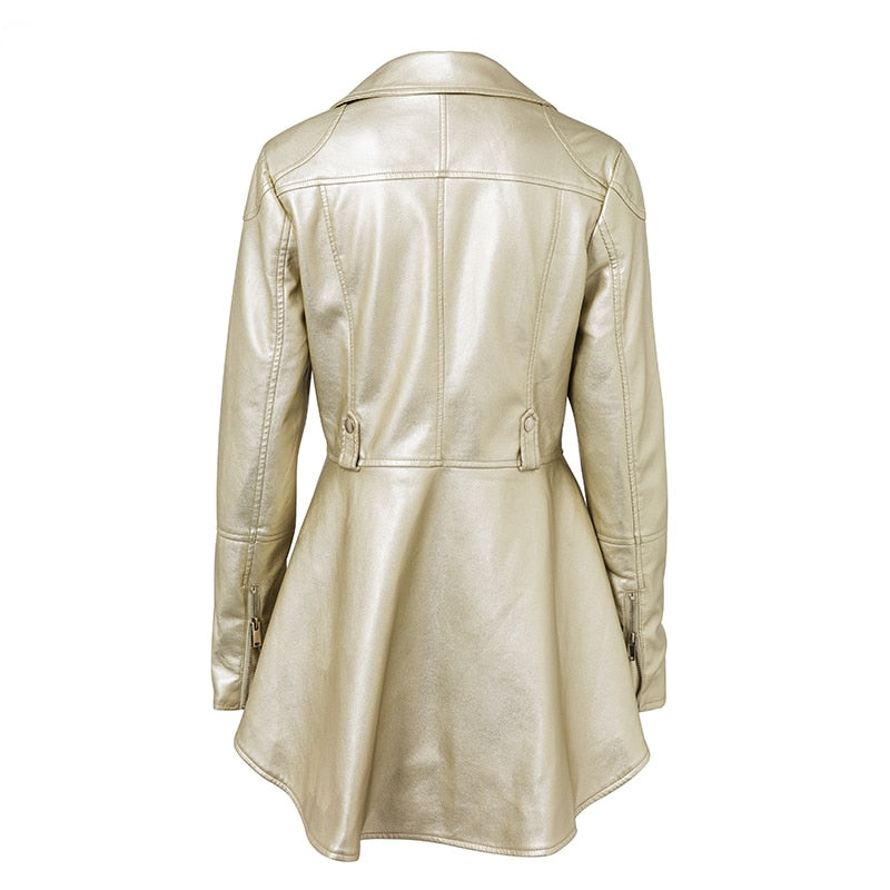Faux Leather Notched Collar Peplum Jacket Gold