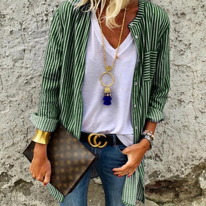 Long Striped Button Up Blouse