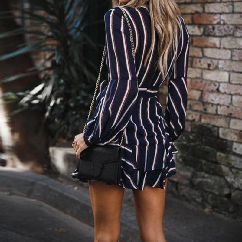 Lantern Sleeve V-Neck Striped Wrap Dress