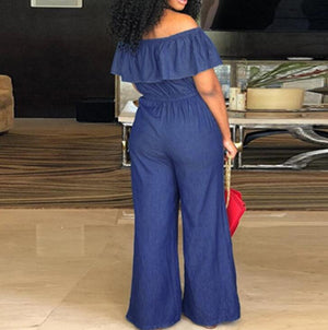 Plus Size Ruffle Denim Jumpsuit