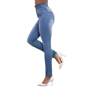 High Waist Stretch Button Fly Jeans