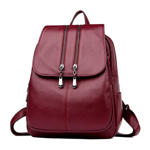 Luxury Leather Backpack Wine red