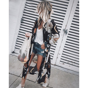 Big Beautiful Floral Print Kimono Cardigan Blue