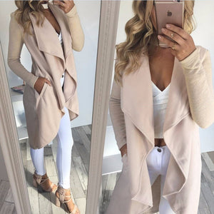 Open Ruffle Long Waterfall Cardigan Gray