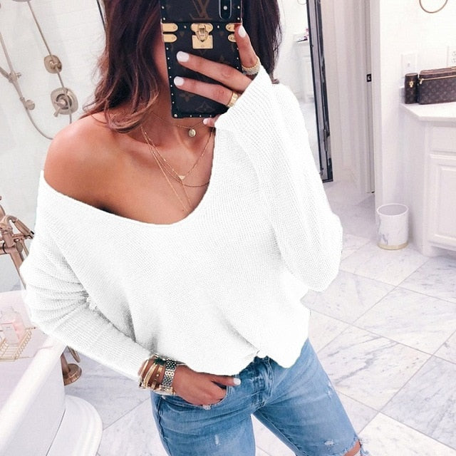 Sexy V-neck Off Shoulder Sweater Green
