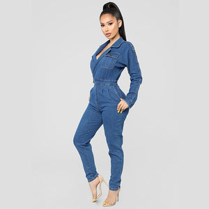Plus Size Casual Denim Jumpsuit