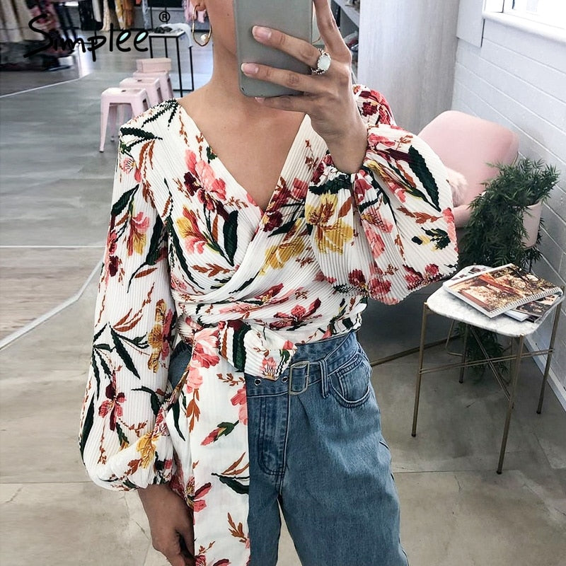 Sexy Floral Wrap Blouse