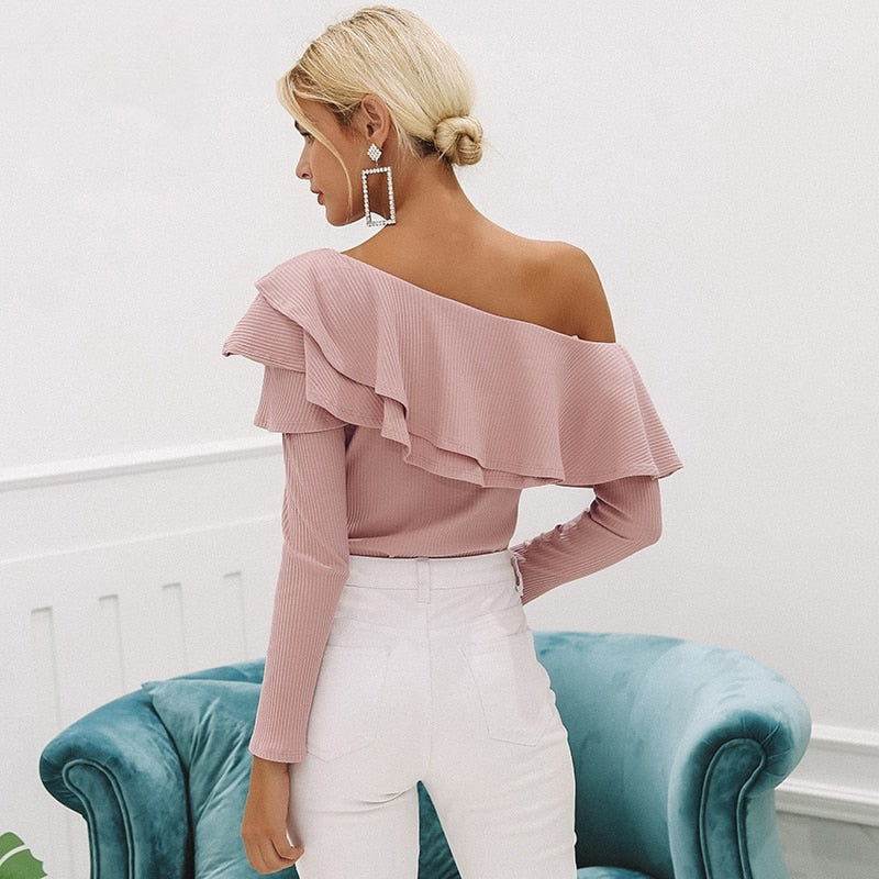 One Shoulder Ruffle Knit Sweater