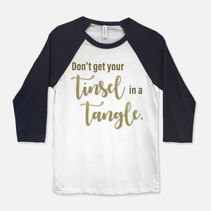 Tinsel in a Tangle Baseball T-Shirt Black & White