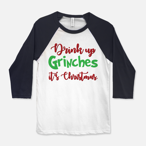 Drink Up Grinches Baseball T-Shirt Navy & White