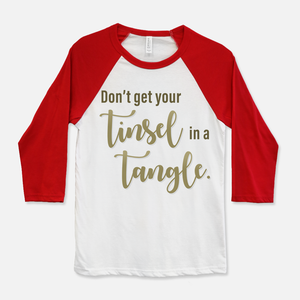 Tinsel in a Tangle Baseball T-Shirt Navy & White