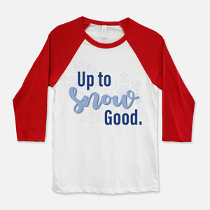 Up To Snow Good Baseball T-Shirt Red & White