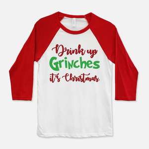 Drink Up Grinches Baseball T-Shirt Red & White