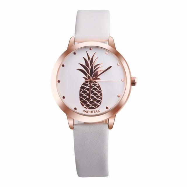 Pineapple Leather Quartz Watch White
