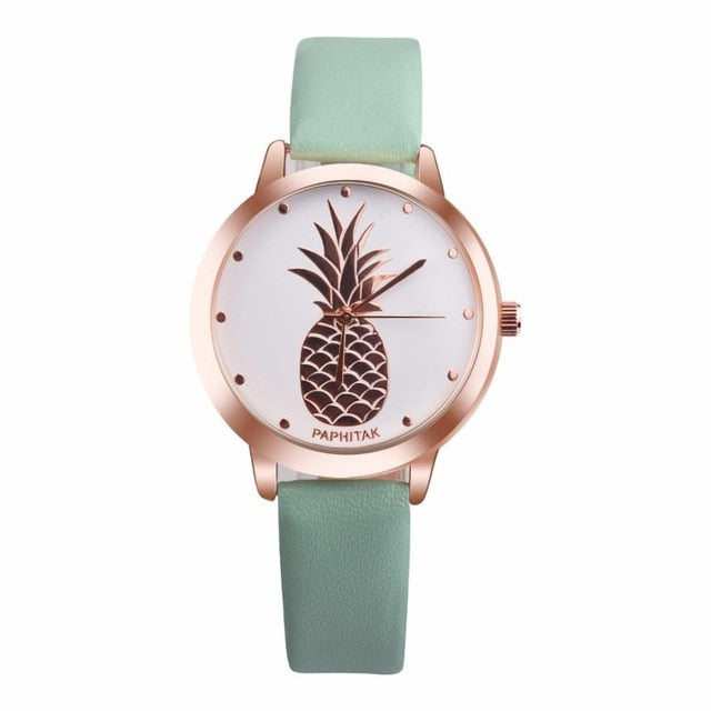Pineapple Leather Quartz Watch Green