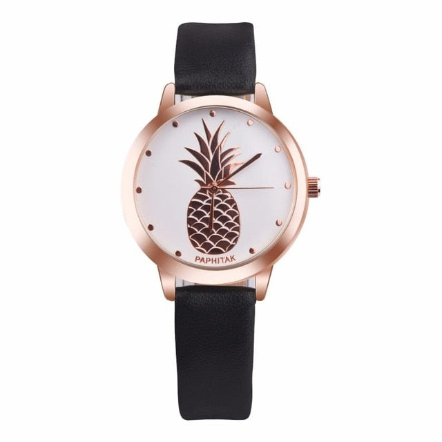 Pineapple Leather Quartz Watch Black