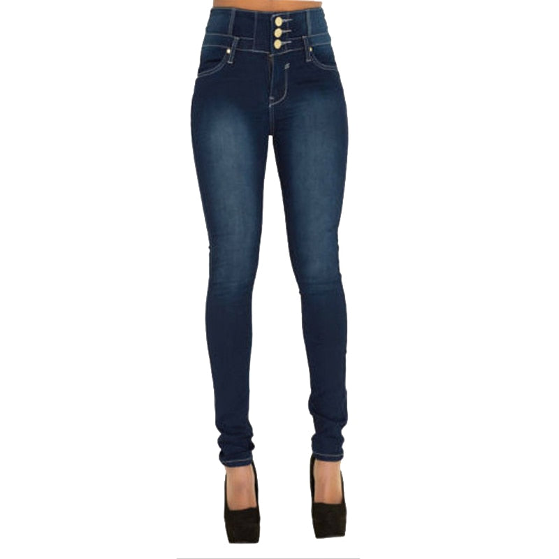 High Waist Stretch Button Fly Jeans Black